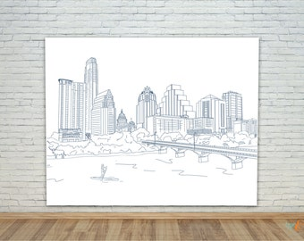 Austin Skyline, vinyl photo backdrop banner, hand illustrated, custom for birthday, sweet 16, wedding, holiday card, etc.