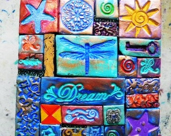Dragonfly polymer clay mosaic tile wooden box, dream, believe