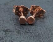 Little 14k Rose Gold Hammered Pebble Studs