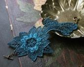 teal lace cuff bracelet  / DARCY / romantic jewelry / bridesmaid jewelry / statement cuff / boho chic cuff