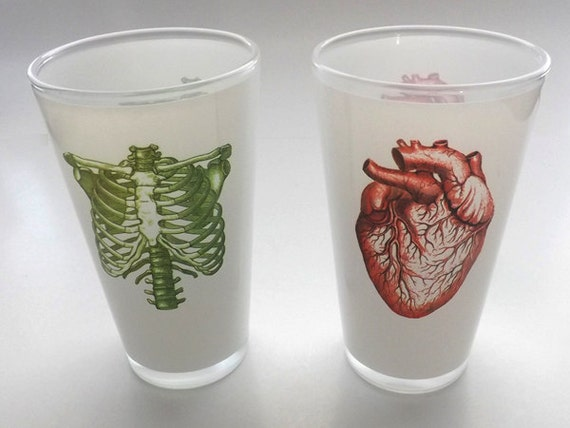 Anatomy Beer Pint Glasses drinking doctor medical school student nurse gift for him her anatomical heart hostess office white coat ceremony