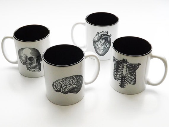 Human Anatomy Mugs Cup gift set black white anatomical heart medical home decor gothic skull coffee tea kitchen macabre halloween spooky
