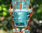Hanging Candleholder with Copper Wrapped Upcycled Vintage Glass Insulator & Marble Prisms, Home Decor