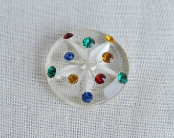 Vintage Reverse Carved Lucite Plastic Button with Multi Colored Rhinestones