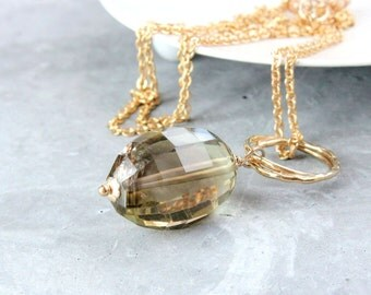 Quartz Necklace Gold Filled Smokey Quartz  Lemon Bi Color Gemstone Jewelry Gold Jewelry Brown Pendant Gemstone Necklace Accessory  For Her