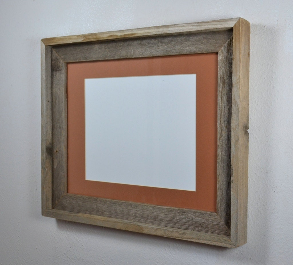 11x14 Reclaimed Wood Picture Frame With Mat For 8x10 Or 8x12