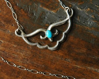 Native American Sterling Silver Necklace, Turquoise Pendant, Sandcast, Textured Chain