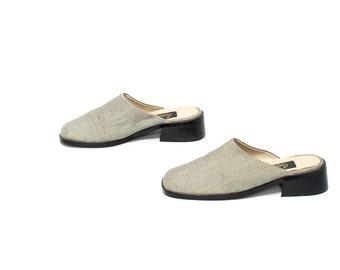 size 7.5 LINEN grey 80s 90s CLOGS mules slides PLATFORM shoes