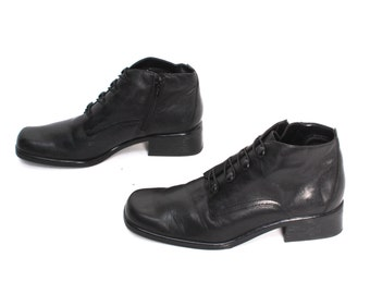size 8 OXFORD black leather 80s 90s MINIMAL zip up grunge ankle boots