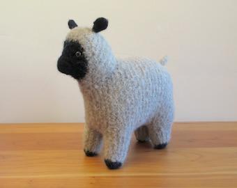 Stuffed Toy lamb Sheep, Handknit Felted Tan Wool, Handmade by FeltedFriends