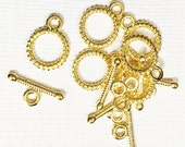 25 sets of Gold texture toggle clasps 10x13mm, gold plated small toggle clasps