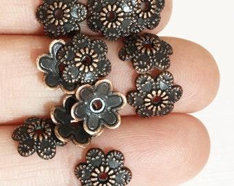 25 pcs of antique copper flower beadcap 9x10mm, antique brass alloy bead caps