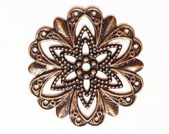 Antique copper filigree flower focal 20mm, Red bronze filigree connector