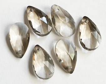 6 Crystal Suncatcher flat faceted teardrop 16x9mm Smoky