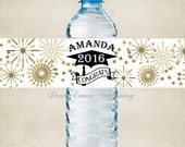 "Graduation Water Bottle Labels, Cap with Year - 100% Waterproof, Polyester Labels - Party Favors 2""x8.5"" self-stick labels - Personalized"