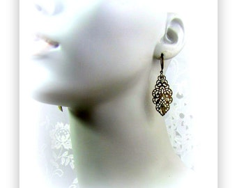 Vintage Filigree Drop Earrings with Clear Rhinestone accents