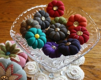 Handmade -- Miniature Felted Wool Pincushion -- Brooch -- Stuffed with Crushed Walnut Shells