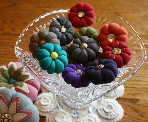 Handmade -- Miniature Felted Wool Pincushion -- Brooch -- Stuffed with Crushed Walnut Shells