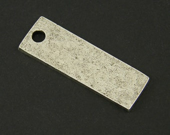 Antique Silver Stamping Blank Antiqued Rectangle Tag Oxidized Pendant Charm Pendant for Layering |NU3-9|XN