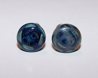 2 gauge blue design glass plugs single flare pair with o-rings (514)