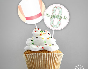 INSTANT DOWNLOAD - LDS Baptism Decoration - Cupcake Toppers or Stickers - It's Great to be Eight - Mint Rose Trellis Set