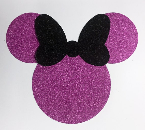Disney Minnie Mouse Jumbo 7 Inch Pink Glitter Black Glitter Bow Die Cut Sticker Shapes - 10 pcs - Vacation Scrap Decor Craft Art Kids 00412