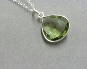 Green Amethyst Necklace, Prasiolite Necklace, Green Pendant, Sterling Silver Necklace,  February Birthstone Necklace  Maggie McMane Designs