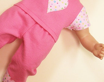 Bitty or Twin Doll Clothes - Pink with Pink Squiggle Applique Pajamas