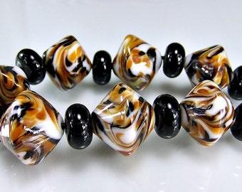 Lampwork Beads Black Brown Amber Biacone  Lampwork Beads Set SRA Glass Bea