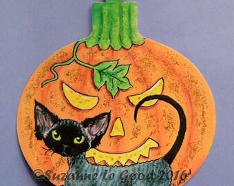 Original DEVON REX CAT Halloween  pumpkin sign by Suzanne Le Good