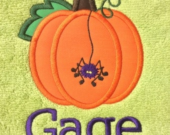 BATH TOWEL Pumpkin and Spider Personalized Towel