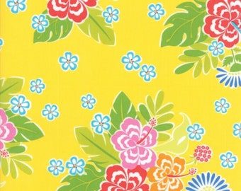 CLEARANCE! Sanibel -Gina Martin- Moda- Hibiscus- Yellow- Fabric by the Yard- Hawaii Fabric- Cotton Fabric- Sew- Craft- Apparel Fabric.