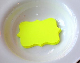 Large Die Cut Bracket Shapes or Blank Labels, Bright Yellow