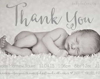 Thank you Birth Announcement Photo Card - Baby - Digital - Printable - newborn - boy - girl - SIMPLE DESIGN