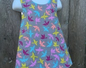 Pinafore Size 3T --- gray put a bird on it Pinafore (((ready to ship)))