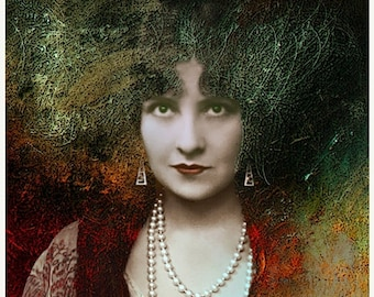 On Sale Fine art giclee print, Giclee print, Woman Portrait, Medusa, Photograph, Vintage Photograph, Photomontage, Collage,