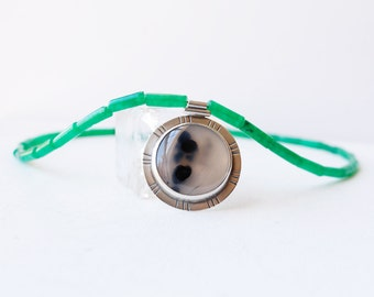 Snow Melt Necklace - Montana Agate and Green Jade