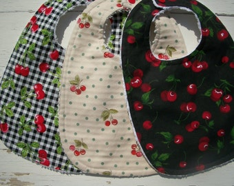 Baby Bibs Set Of 3 Baby Girl Bibs Cherries Chenille Ready To Ship