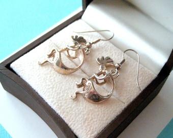 Navajo Sterling Silver 3-D Kokopelli Earrings
