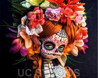 Redhead Steampunk Dia De Los Muertos Skull Doll canon PRINT 624 by Michael Brown/UC Studios