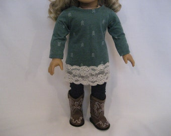 18 Inch Doll Clothes - Green Dress with Jeggings made to fit dolls such as the American Girl and Maplelea doll clothes