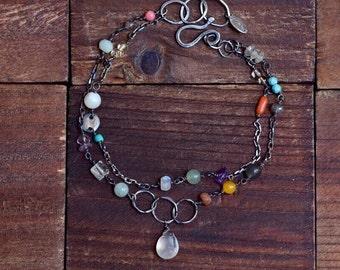 Mixed Stone Double Strand Bracelet - Boho Earthy Colorful Bracelet - Oxidized Sterling Silver Bracelet - Moonstone Bracelet