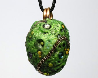 Super SALE! Dragon Egg Necklace, Polymer clay and Crystals