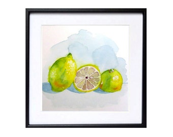 Fruit Art, Kitchen Art Prints,  Watercolor Painting Fruit art prints, Lime Watercolor , Farmhouse wall art decor, Kitchen wall art