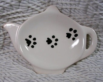 Pawprints On Ceramic Tea Bag Holder Handmade Dog or Cat Prints by Gracie