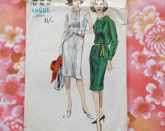 """60s Vogue 5905 Sheath Dress Pattern qith amazing pin tucks Size 14 Bust 34"""""""