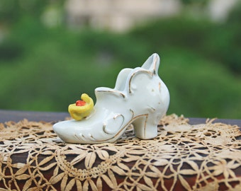 Vintage Victorian Shoe Figurine White Ceramic Collectible Shoe