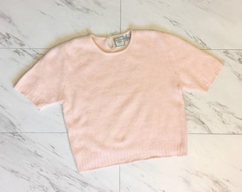 Pink knit angora sweater crop top sweater short sleeve fuzzy knit sweater