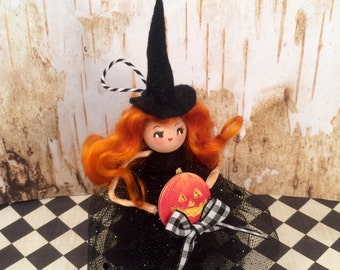Witch ornament witch doll halloween witch jack o lantern orange black vintage retro inspired party decor art doll