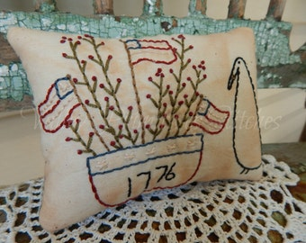Americana 1776 Patriotic Hand Stitched Pillow, Red White Blue, Crow